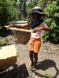Demonstrating how to properly hold a comb, this little girl is fearless in her shorts and tank top!