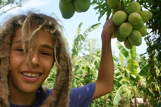 Emmanuel under the stringy mango tree