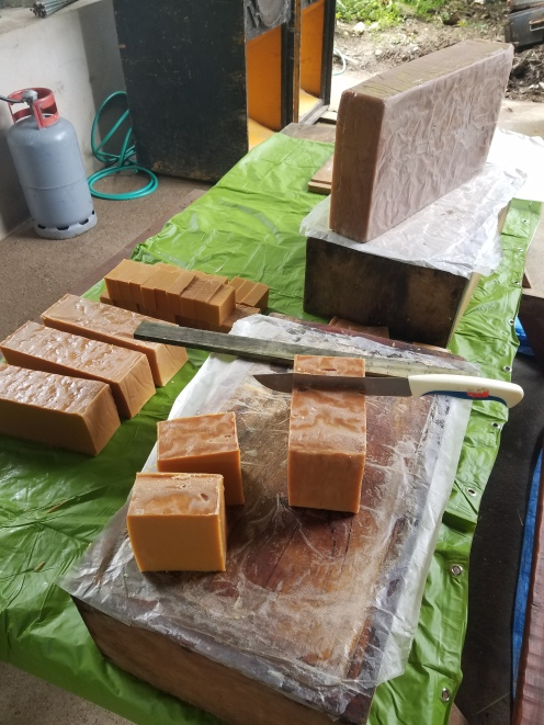 Two batches of honey soap ready to be cut