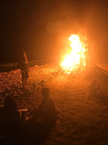 Night time bonfire at the beach