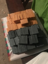 Cut soap bars ready to cure on the shelf
