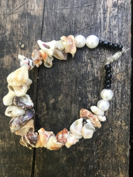 A shell bracelet made by a neighbor